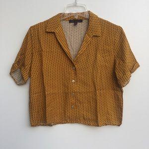 Kaii Button Front Pattern Crop Top Yellow Black M